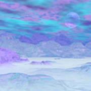 Colorful Icebergs - 3d Render Art Print