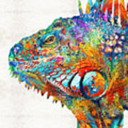 Colorful Iguana Art - One Cool Dude - Sharon Cummings Art Print