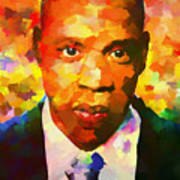 Colorful Jay Z Palette Knife Art Print