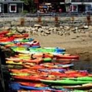 Colorful Kayaks Art Print