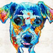 Colorful Little Dog Pop Art By Sharon Cummings Art Print