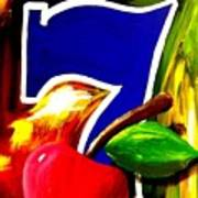 Colorful Lucky Seven Slot Machine Casino Decor With Cherry Art Print