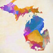 Colorful Michigan Art Print