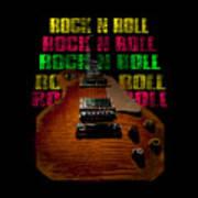 Colorful Music Rock N Roll Guitar Retro Distressed  Art Print