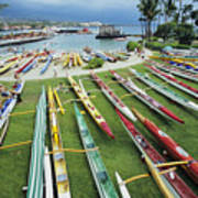 Colorful Outrigger Canoes Art Print