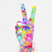 Colorful Painting Of Hand Point Two Finger Art Print