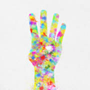 Colorful Painting Of Hand Pointing Four Finger Art Print