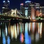 Colorful Pittsburgh Lights Art Print