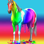 Colorful Rainbow Paint Horse Art Print