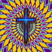 Colorful Retro Cross Art Print