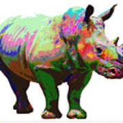Colorful Rihno Art Print