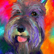 Colorful Schnauzer Dog Portrait Print Art Print