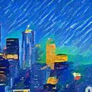 Colorful Seattle Skyline Panorama Art Print