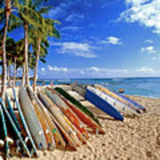 Colorful Surfboards On Waikiki Beach Art Print