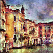 Colorful Venice Canal Art Print