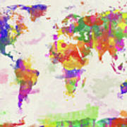 Colorful watercolor world map digital art by zaira dzhaubaeva colorful watercolor world map poster gumiabroncs Choice Image