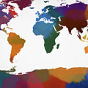 Colorful World Map Art Print