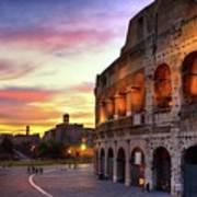 Colosseum At Sunset Art Print