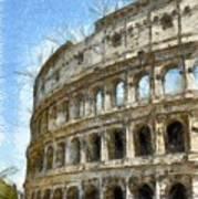 Colosseum Or Coliseum Pencil Art Print