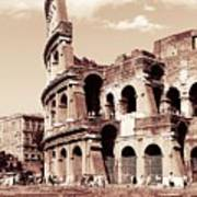 Colosseum Toned Sepia Art Print by Stefano Senise