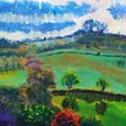Colourful English Devon Landscape - Early Evening In The Valley Art Print