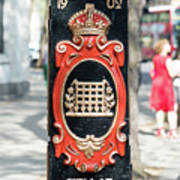 Colourful Lamp Post With The City Of Westminster Coat Of Arms London Art Print
