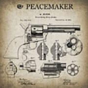 Colt .45 Peacemaker Revolver Patent  1875 Art Print