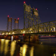 Columbia Crossing I-5 Interstate Bridge At Night Art Print