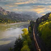 Columbia Gorge Train Art Print
