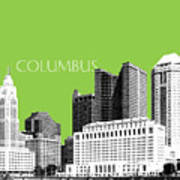 Columbus Ohio Skyline - Olive Art Print
