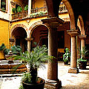 Columns And Courtyard Print by Mexicolors Art Photography