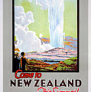 Come To New Zealand Vintage Travel Poster Art Print