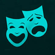 Comedy N Tragedy Aquamarine Art Print