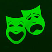 Comedy N Tragedy Green Art Print