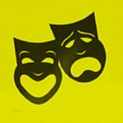 Comedy N Tragedy Neg Yellow Art Print