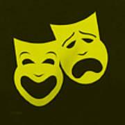 Comedy N Tragedy Yellow Art Print