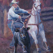 Comin At Ya      Calf Roping Painting Art Print