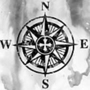 Compass-black Art Print