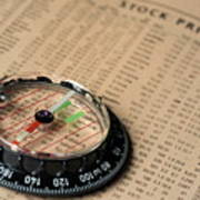 Compass On Stockmarket Cotation In Newspaper Art Print
