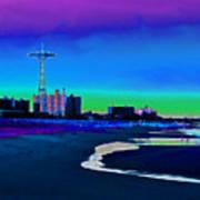 Coney Island Parachute Jump And Beach Art Print