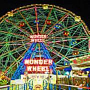 Coney Island's Wonderous Wonder Wheel In Neon Art Print
