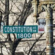 Constitution Avenue Street Sign Art Print