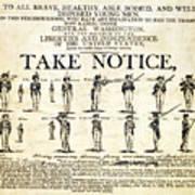 Continental Army Recruitment Broadside Art Print