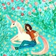 Conversation With A Unicorn Art Print