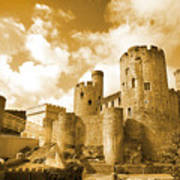 Conwy Castle And The Telford Suspension Bridge North Wales Art Print