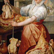 Cook With Chicken. In The Background Christ With Mary And Martha Art Print