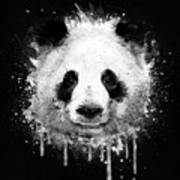 Cool Abstract Graffiti Watercolor Panda Portrait In Black And White  Art Print