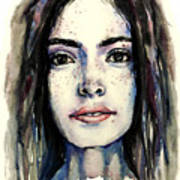 Cool Colored Watercolor Face Art Print