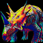 Cool Dinosaur Color Designed Creature Art Print