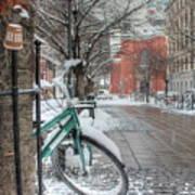 Copenhagen In The Winter.a Lonely Bike Art Print